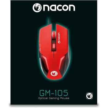 Nacon Mouse Da Gioco Con Sensore Ottico, Rosso - Pc