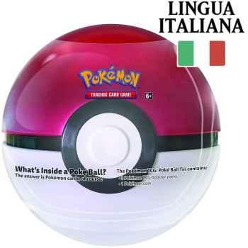 Tin Poké Ball in Italiano - Pokéball di Latta + 3 Buste da 10 Carte Casuali + Moneta Pokémon