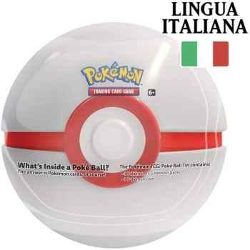 Tin Premier Ball in Italiano - Pokéball di Latta + 3 Buste da 10 Carte Casuali + Moneta Pokémon