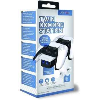 (PS5) Venom PS5 Controller Twin Docking Station - White (PS5)